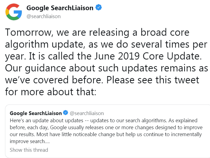 Google Announces June 2019 Algorithm Update