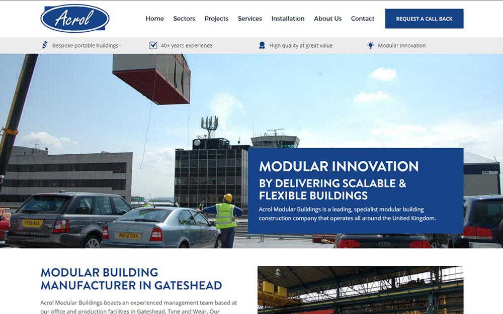 Acrol Modular Buildings website preview