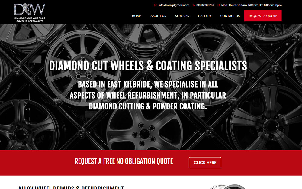 Diamond Cut Wheels Glasgow website preview