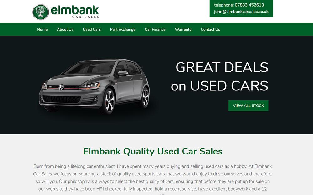 Elmbank Car Sales website preview