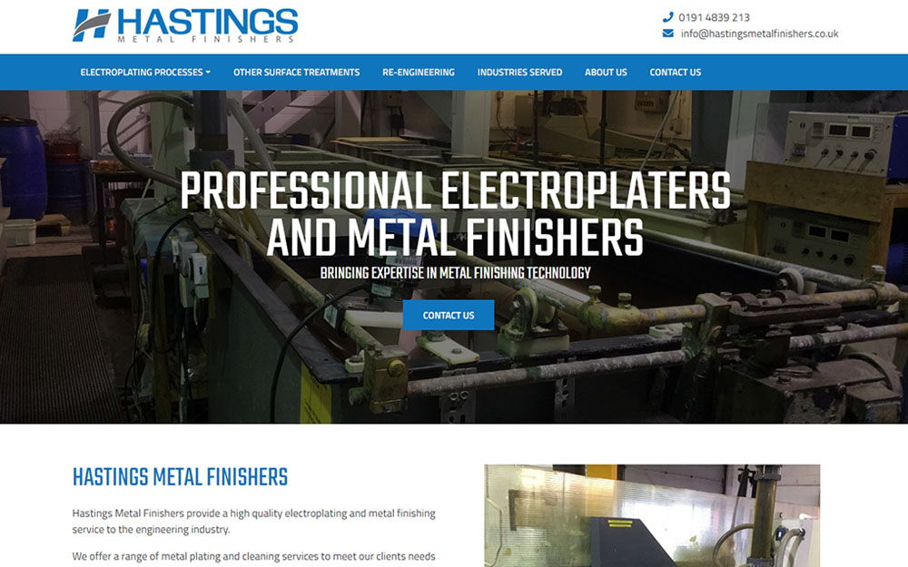 Hastings Metal Finishers website preview