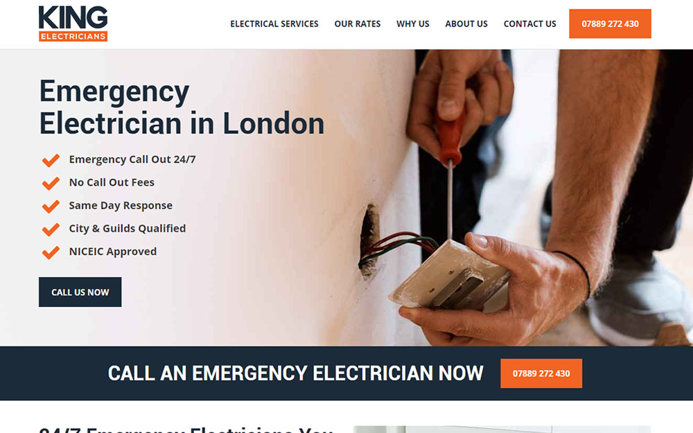 King Electricians website preview