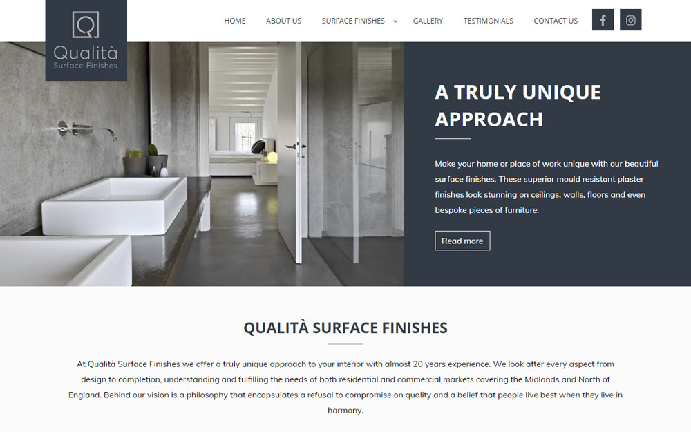 Qualita Surface Finishes website preview