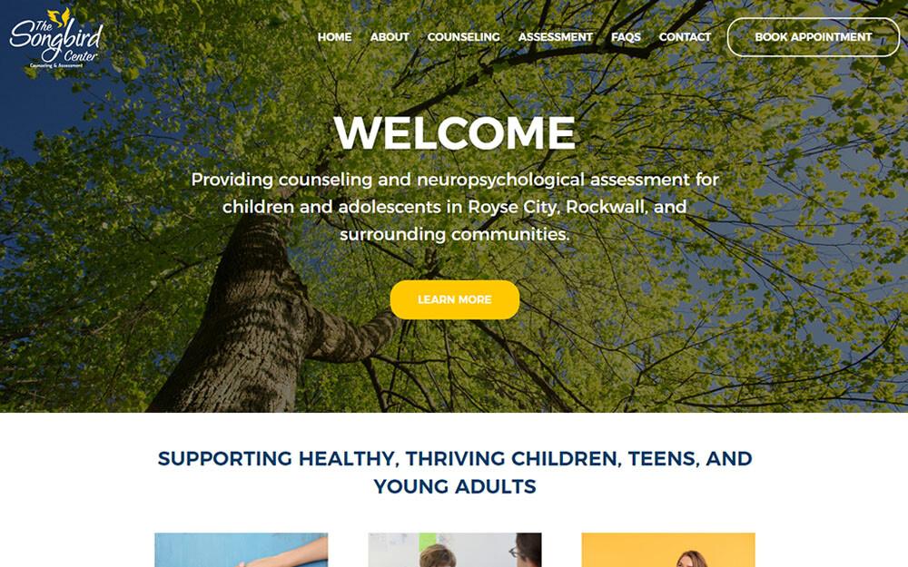 The Songbird Center website preview